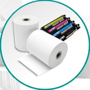 Potrošni material. Papir in termo papir za blagajne vseh velikosti, tonerji, kartuše, pisarniški papir, registri, ipd.