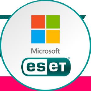 Programska oprema partnerskih podjetij. Microsoft, ESET, Adobe, Tracker Software.